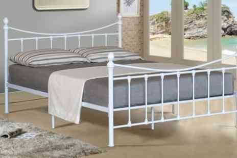 Groupon Goods Global GmbH - Victoriana Metal Bed Frame in Choice of Colour and Size with Optional Mattress - Save 79%