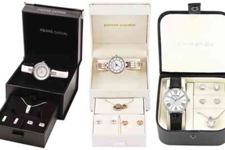 Groupon Goods Global GmbH - Pierre Cardin Womens Wrist Watch, Earring and Necklace Set - Save 57%