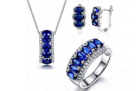 Fakurma - 10ct Lab Created Blue Sapphire Jewelley Three Piece Set - Save 93%