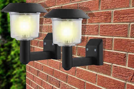 Groundlevel - Set of two or four solar LED lantern wall lights - Save 77%