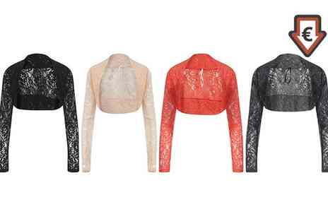Groupon Goods Global GmbH - Womens Cropped Diamond or Floral Lace Long Sleeved Shrug in Choice of Colours - Save 0%