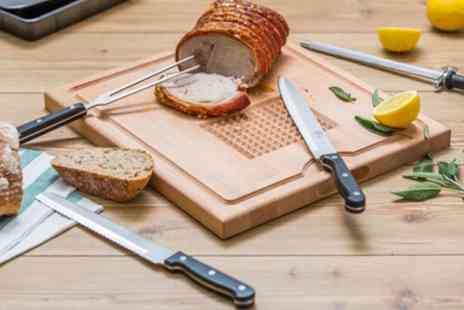Groupon Goods Global GmbH - Tala Beech Wood Carving and Cutting Board with Knives Set - Save 58%