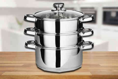 Direct 2 public - Three Piece Stainless Steel Steamer Set - Save 75%
