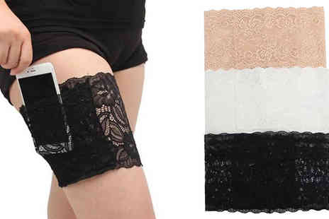 Wonderland - Anti Friction Lace Garter with Pocket in 3 Colours, 3 Sizes - Save 67%