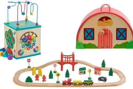 Groupon Goods Global GmbH - Wooden Toys Activity Cube, Farm or Train Set - Save 50%