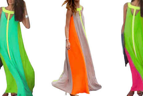Bazaar me - Neon Detail Faux Chiffon Maxi Dress Choose from Three Colours - Save 76%