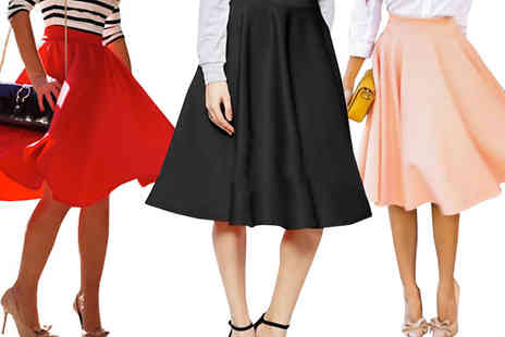 Bazaar me - High Waisted Swing Skirt Available in Three Colours - Save 81%