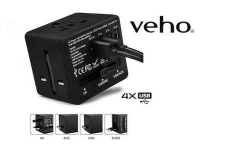 Deals Direct - Veho TA 1 four port universal travel adapter - Save 59%
