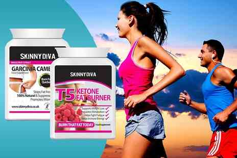 Skinny Diva - Two month supply of Garcinia cambogia and T5 fat burner capsules - Save 89%