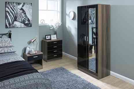 Groupon Goods Global GmbH - Melbourne Gloss Mirrored or Plain Bedroom Furniture in a Choice of Five Colours - Save 61%
