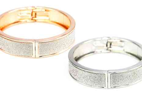 Groupon Goods Global GmbH - Rose or Silver Stardust Bangle with Crystals from Swarovski - Save 87%