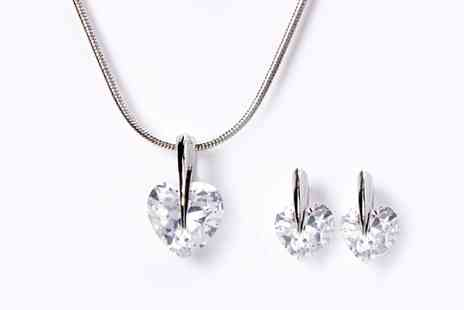 Groupon Goods Global GmbH - Five Carat Crystal Heart Pendant and Earrings Set with Crystals from Swarovski - Save 78%