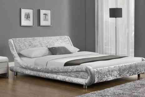 Groupon Goods Global GmbH - Galaxy Velvet Fabric Beds in choice of Colour and Size with Option to Include a Mattress - Save 50%