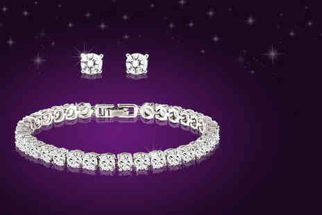 Fakurma - Tennis bracelet and matching stud earrings - Save 91%