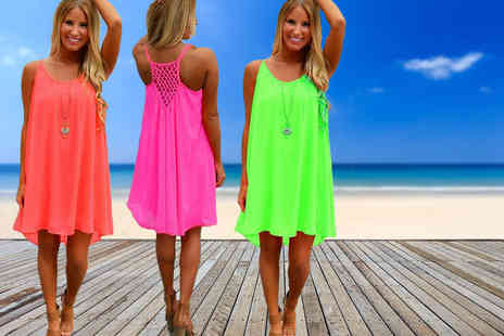 Snap One Up - Fluorescent chiffon beach dress choose from two colours - Save 71%