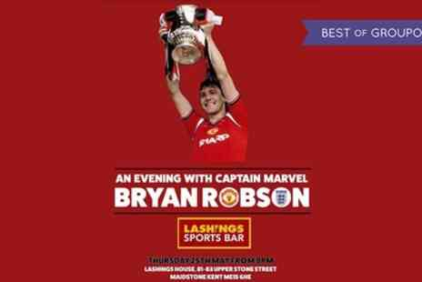 Lashings Sports Bar & Restaurant - An Evening with Captain Marvel Bryan Robson, 25 May - Save 40%