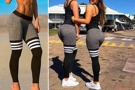 Who Runs the World - Pair of three stripe workout leggings - Save 68%
