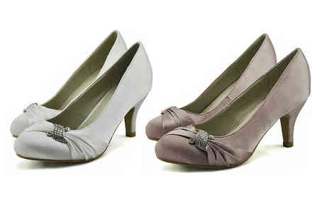 Trendy Look - Pair of diamante satin court shoes choose from four colours - Save 80%