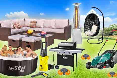 HCi Distribution - Garden mystery deal rattan corner sofa set, garden sprinkler, Lay Z Spa hot tub - Save 0%