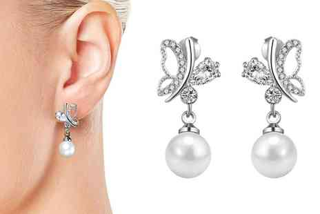 Groupon Goods Global GmbH - One or Two Pairs of Philip Jones Pearl Butterfly Earrings with Crystals from Swarovski - Save 78%