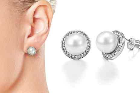 Groupon Goods Global GmbH - One or Two Pairs of Philip Jones Pearl Halo Earrings with Crystals from Swarovski - Save 81%