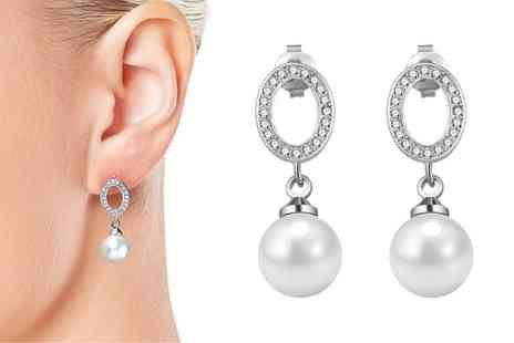 Groupon Goods Global GmbH - One or Two Pairs of Philip Jones Pearl Oval Drop Earrings with Crystals from Swarovski  - Save 81%