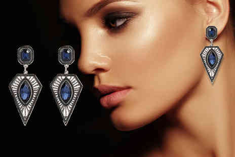 Girly Glitz - Pair of blue crystal statement drop earrings - Save 83%