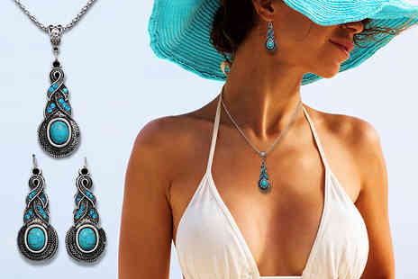 Alvis Fashion - Tibetan style pendant necklace and earrings set - Save 87%