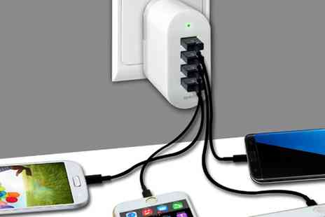 Groupon Goods Global GmbH - Two or Four USB Wall Charger with an Optional iPhone USB Charger Cable - Save 80%