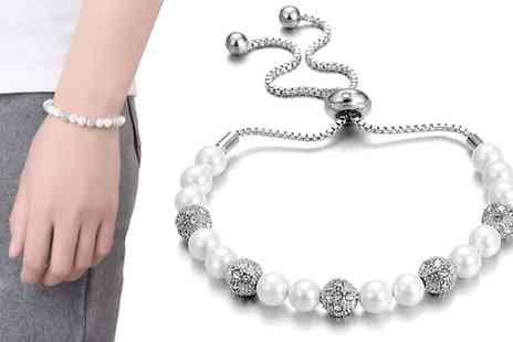Groupon Goods Global GmbH - One or Two Pearl Friendship Bracelets with Crystals from Swarovski - Save 80%