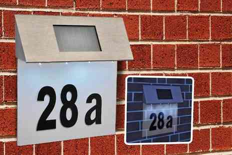 SHS Trading - Solar powered LED house number plaque - Save 63%