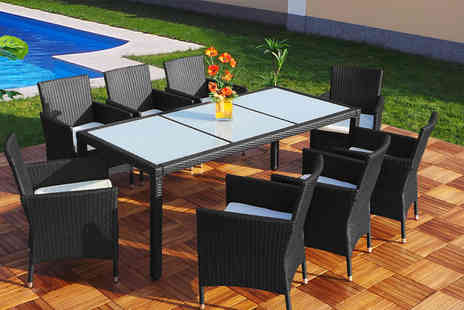 EveMotion GmbH - Six or Eight seater outdoor rattan dining set from two colours - Save 71%