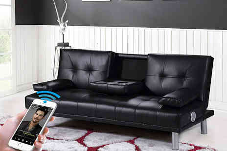 Envisage Home - Faux leather Bluetooth sofa bed with cup holders - Save 83%