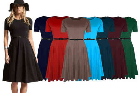 Be Jealous - Midi skater dress with a belt in five sizes and eight colours - Save 66%