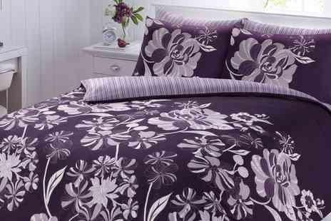 Groupon Goods Global GmbH - Linear Floral Duvet Cover Set in Choice of Colour and Size - Save 71%