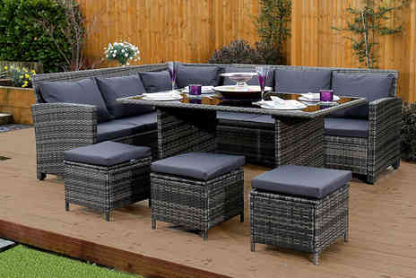 Abreo - Nine seater rattan corner garden sofa and dining table set select either brown or grey - Save 61%