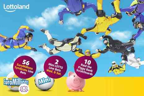 Lottoland - 56 EuroMillions syndicate line bets, 10 scratchcards and 2 Mini Lotto draws - Save 59%