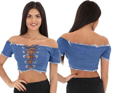 Stitch Trading - Denim lace up bardot style top - Save 44%