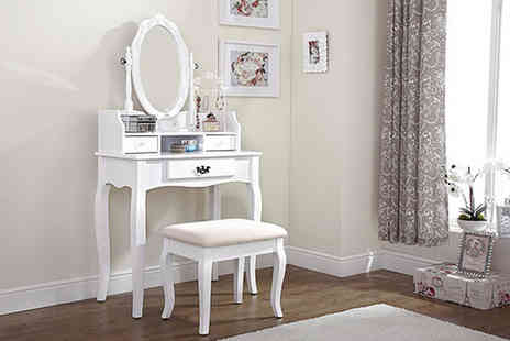 FTA Furnishing - Antique style dressing table with mirror and stool - Save 56%
