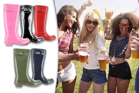 Maetrad - Pair of glossy festival wellingtons - Save 54%
