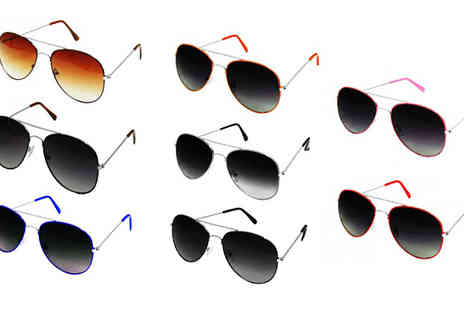 Fakurma - Two Pairs of Retro Aviator Sunglasses Eight Colours - Save 83%