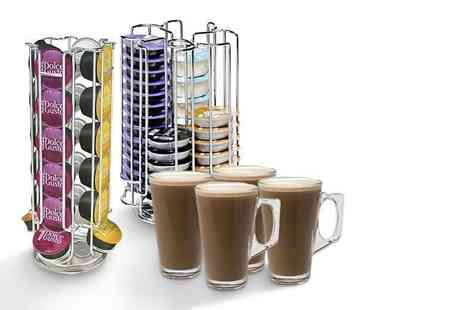Ricomex - Dolce Gusto or a Tassimo coffee capsule holder stand and four latte glasses - Save 58%