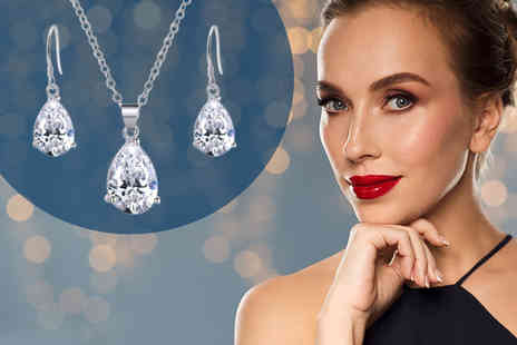 My Boutique Store - Clear tear drop jewellery duo set - Save 85%