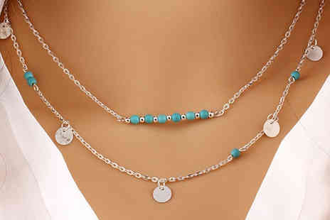 Clear Crystal - Silver and turquoise coloured layered summer necklace - Save 80%