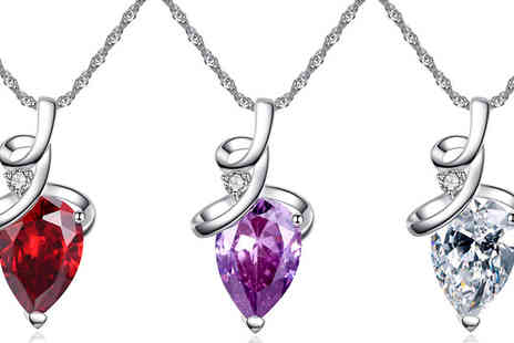 Your Ideal Gift - Rhodium Plated Pear Cut Simulated Crystal Pendant Three Colours - Save 85%