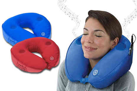 Fakurma - Massaging travel pillow with built in speaker choose red or blue - Save 77%