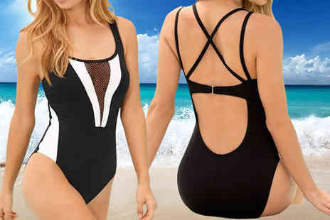 Bluebell Retail - Black and white mesh plunge swimsuit - Save 74%