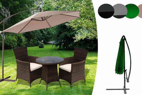 Groundlevel - Large 3m Banana Parasol in 4 Colours - Save 66%