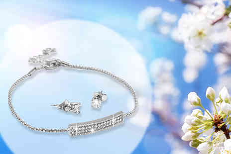 Bijou Amour - Silver two bar crystal bracelet and earrings set - Save 74%