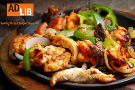 Ad Lib - Fajitas and a margarita cocktail each for two - Save 54%